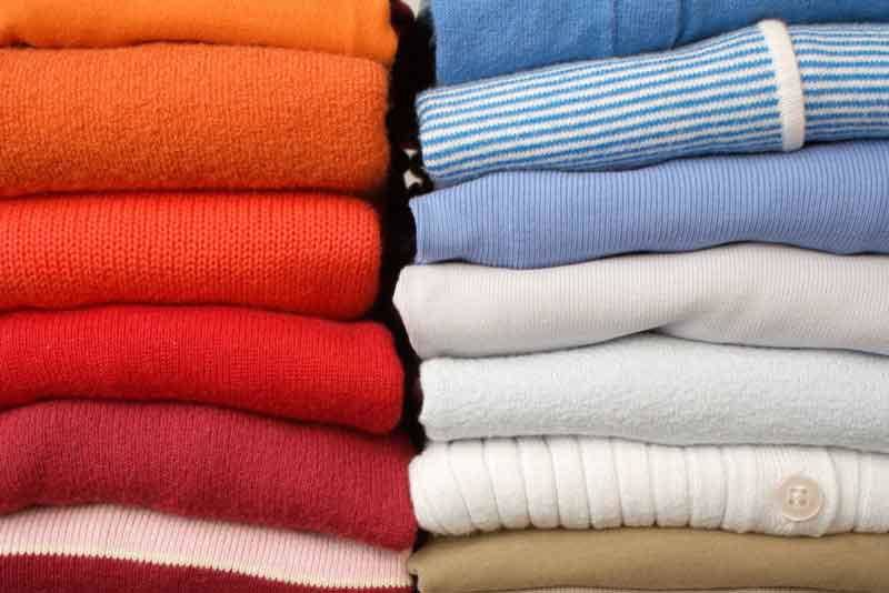 laundry colors folded inside out